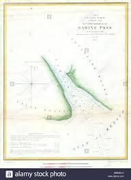 Texas Gulf Coast Water Depth Chart English A Rare Hand Colored 1853 Coastal Chart Sabine Pass