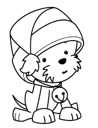 Small Picture A Cute Little Dog Wearing Santas Hat on Christmas Coloring Page