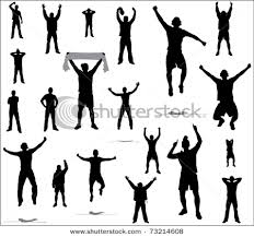 sports fans cheering silhouette. vector illustration od sport fans cheering on their sports team in a set of silhouette pictures