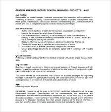 Personnel Management Job Description General Manager Job Description Template 8 Free Word Format