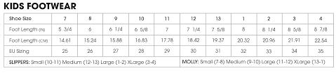 Kids Slipper Size Chart Size Chart Muk Luks