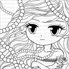 pretty coloring pages. Contemporary Pages Digi Stamp Big Eyed Girl Illustration Coloring Page By Artbymiran 200 Inside Pretty Pages O