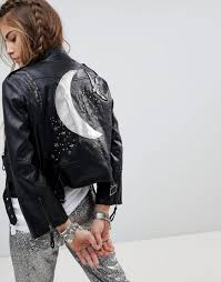 Leather Jacket With Design On Back Festival Faux Leather Biker Jacket With Celestial Back Panel