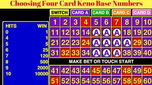 Keno Smart Charts Choosing Four Card Keno Base Numbers Youtube