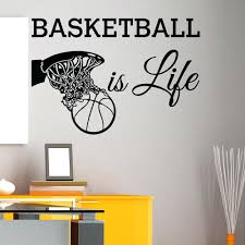 wall talk decals basketball is life wall decal quote basketball hoop sports  wall basketball is life