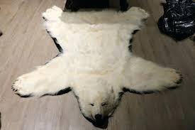 white bear rug polar fake fur