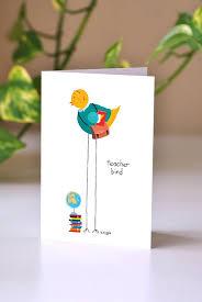 Teachers Birthday Card Teacher Bird Greeting Card Thank You Card Card For A Teacher Teacher Appreciation Card Bird Lover Education Stationary Teacher Birthday