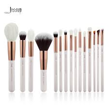 jessup pearl white rose gold professional makeup brushes set make up brush tools kit foundation powder natural synthetic hair professional makeup brushes