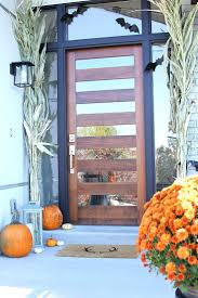 Modern Glass And Wood Front Door With Side Light And Black Trim