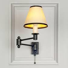 matt black hanson wall light with pull