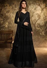 Full Length Suit Design Jennifer Winget Black Georgette Floor Length Designer Suit 11035