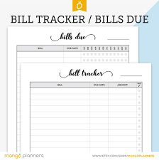 Bill Payment Tracker Bill Tracker Bill Organizer Bill Payments Due Bill Planner Bill Tracking Bills Due Monthly Bill Tracker Budget