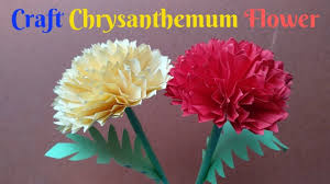 Making Of Flower With Paper How To Make Chrysanthemum Flower From Paper Making Flower
