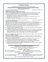 Facilities Manager Professional Resume Sample Design Resumessample