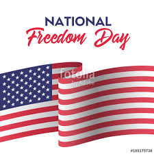 usa national freedom day greeting card with american flag