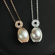 solid silver natural pearl gold ingot pendant s925 short fashion silver necklace pearl jewelry clavicle chain