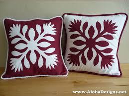 Hawaiian Quilt Pillow Covers red lehua flowers & 🔎zoom Adamdwight.com