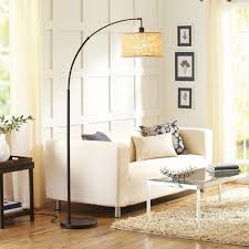 bhg burlap and metal arc floor lamp with cfl bulb bronze