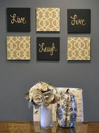 chic large wall decorations living room: live laugh love wall art pack of  canvas wall hangings painting fabric upholstered large living room decor modern chic beige black amp gold by goldenpaisley