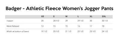 Badger Sportswear Size Chart Badger Womens Fleece Jogger Size Chart Rising Stars