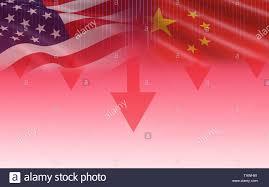 Trade War Economy Usa America And China Flag Candlestick