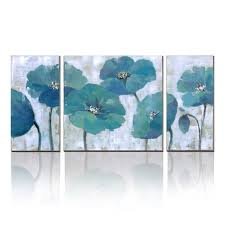 3 panels modern canvas floral artwork blue abstract flower paintings on canvas wall decor 100  on canvas wall art blue flowers with 3 panels modern canvas floral artwork blue abstract flower paintings