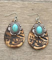 whole handbag fashion jewelry turquoise jewelry er3218bn turquoise accent tooled leather earrings at yktrading com