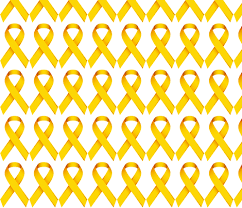 Small Picture Gold Ribbon for Childhood Cancer Awareness fabric by plumpapaya on
