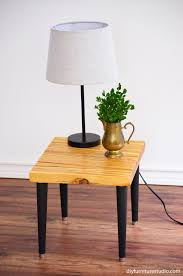 diy side table made with an upcycled wood shim table top and modified waddell mid