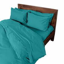 homescapes king size teal egyptian cotton duvet cover set plain dyed percale 200 thread count with