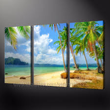 large oil painting home decor beach wall art framed 3 panel palm tree canvas pictures 100 handpainted a0809 aliexpress mobile