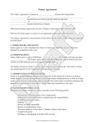 Nanny Contract Template Free Nanny Employment Agreement