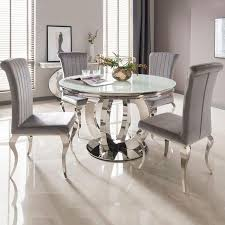white glass chrome round dining table nicole chairs imaginex oak kitchen and high gloss outdoor light colored room sets gray bench folding with