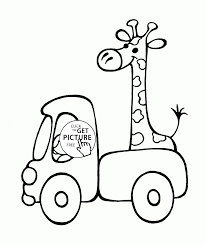 Small Picture Small Truck with Giraffe coloring page for preschoolers