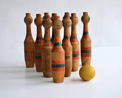 Game Of Skittles Wooden Antique Tabletop Bowling Game Skittle Bowling Pins Rustic 49