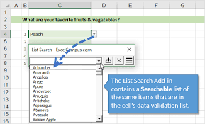 How To Add A Drop Down Box In Word How To Search Data Validation Drop Down Lists In Excel Excel Campus