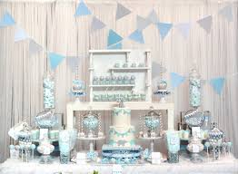 Baby Blue and Gray Elephant Baby Shower dessert table and candy ...