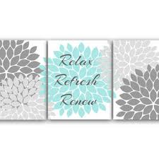 >relax refresh renew bathroom wall art from wallartboutique on relax refresh renew bathroom wall art gray and aqua bathroom decor modern bathroom