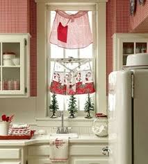 Pretty idea for the shabby chic kitchen - aprons as curtains!