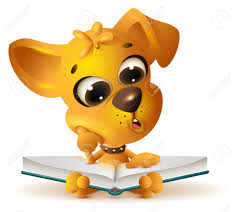 vector yellow dog reading open book isolated on white vector cartoon ilration