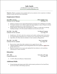 customer service on resume