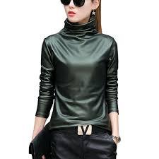 2019 european punk plus size women blouse autumn turtleneck long sleeve tops shirt las velvet stretch camisas pu leather blouses from extend38