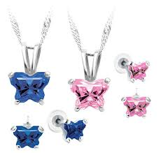 child s petite birthstone erfly necklace earring set in sterling silver