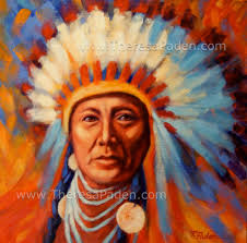 western painting native american indian chief by theresa paden