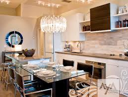 contemporary kitchen wooden island high gloss modena