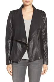 image of trouve d front raw edge leather jacket