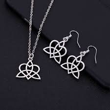 details about silver plated triquetra celtic trinity knot and heart necklace earrings set