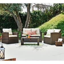 4 piece outdoor wicker conversation set hover to zoom