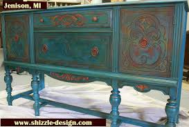 multi colored painted furniture. American Paint Company\u0027s Peacock Hand Painted Antique Buffet Shizzle Design 2018 Chicago Drive Jenison MI 49428 Multi Colored Furniture I