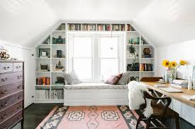 view in gallery attic office space with great shelving around window attic office ideas